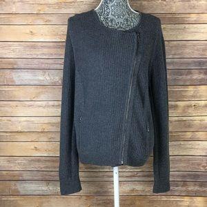 LOFT Side Zip Moto Knit Ribbed Sweater Cardigan